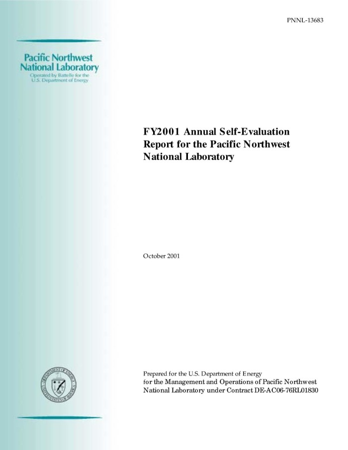 Primary View Of Object Titled FY2001 Annual Self Evaluation Report For The Pacific Northwest National