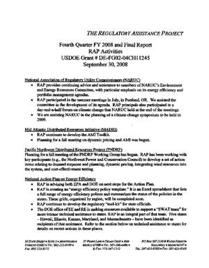 Primary view of object titled 'Fourth Quarter FY 2008 and Final Report'.