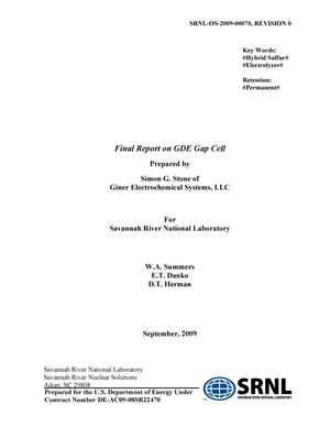Primary view of object titled 'FINAL REPORT ON GDE GAP CELL'.