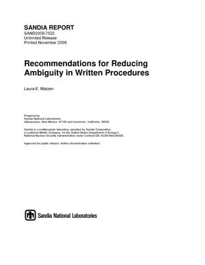 Primary view of object titled 'Recommendations for reducing ambiguity in written procedures.'.