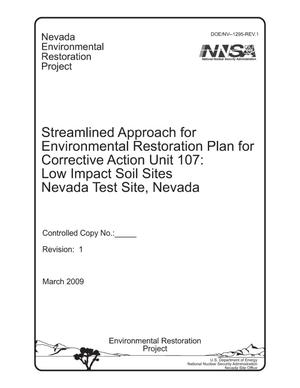 Primary view of object titled 'Streamlined Approach for Environmental Restoration Plan for Corrective Action Unit 107: Low Impact Soil Sites, Nevada Test Site, Nevada'.