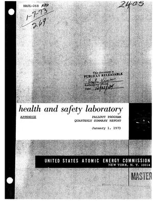 Primary view of object titled 'FALLOUT PROGRAM. Quarterly Summary Report, September 1, 1972--December 1, 1972. (Appendix)'.