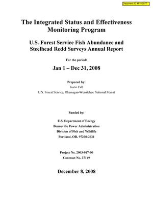 Primary view of object titled 'The integrated Status and Effectiveness Monitoring Program : U.S. Forest Service Fish Abundance and Steelhead Redd Surveys Annual Report : January 1 - December 31, 2008.'.