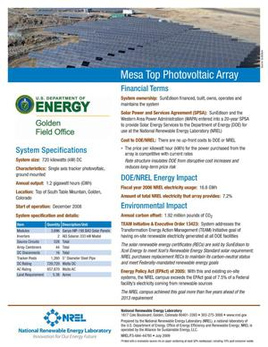 Primary view of object titled 'Mesa Top Photovoltaic Array (Fact Sheet)'.