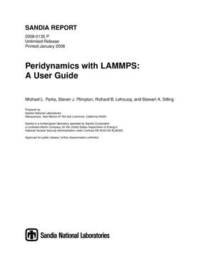 Primary view of object titled 'Peridynamics with LAMMPS : a user guide.'.