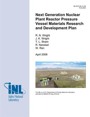 Primary view of object titled 'Next Generation Nuclear Plant Reactor Pressure Vessel Materials Research and Development Plan (PLN-2803)'.