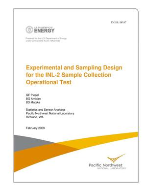 Primary view of object titled 'Experimental and Sampling Design for the INL-2 Sample Collection Operational Test'.
