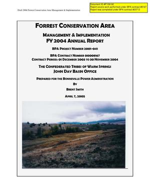 Primary view of object titled 'Forrest Conservation Area : Management & Implementation FY 2004 Annual Report.'.