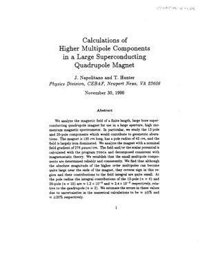 Primary view of object titled 'Calculations of Higher Multipole Components in a Large Superconducting Quadrupole Magnet'.