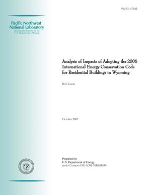 Primary view of object titled 'Assessment of Impacts from Adopting the 2006 International Energy Conservation Code for Residential Buildings in Wyoming'.