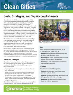 Primary view of object titled 'Goals, Strategies, and Top Accomplishments: Clean Cities, Fact Sheet, May 2009'.