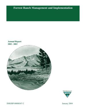 Primary view of object titled 'Forrest Ranch Management and Implementation, Annual Report 2002-2003.'.