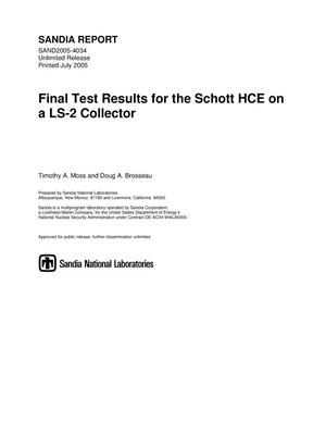 Primary view of object titled 'Final test results for the Schott HCE on a LS-2 collector.'.