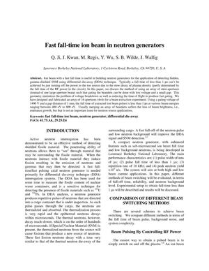 Primary view of object titled 'Fast fall-time ion beam in neutron generators'.