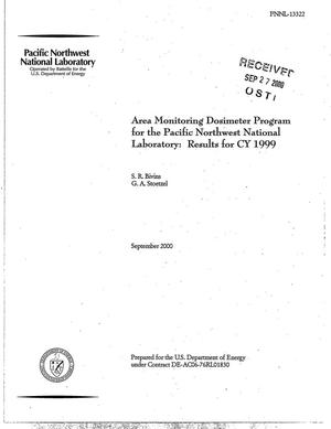 Primary view of object titled 'Area Monitoring Dosimeter Program for the Pacific Northwest National Laboratory: Results for CY 1999'.