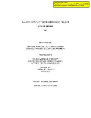 Primary view of object titled 'Kalispel Non-Native Fish Suppression Project 2007 Annual Report.'.