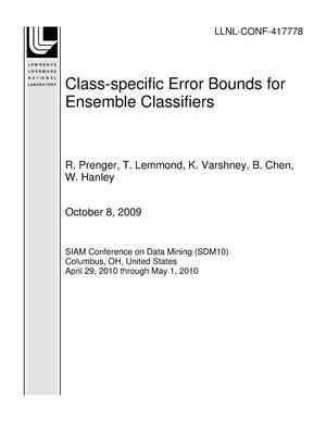 Primary view of object titled 'Class-specific Error Bounds for Ensemble Classifiers'.