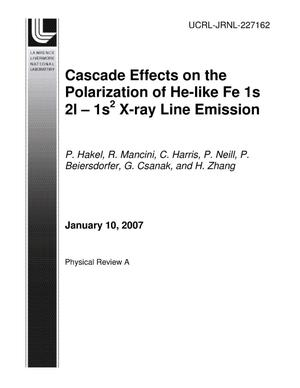 Primary view of object titled 'Cascade effects on the polarization of He-like Fe 1s 2l - 1s2 X-ray line emission'.