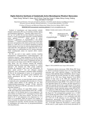 Primary view of object titled 'Highly Selective Synthesis of Catalytically Active Monodisperse Rhodium Nanocubes'.