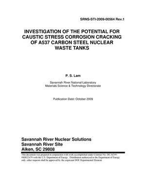 Primary view of object titled 'INVESTIGATION OF THE POTENTIAL FOR CAUSTIC STRESS CORROSION CRACKING OF A537 CARBON STEEL NUCLEAR WASTE TANKS'.