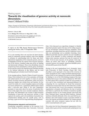 Primary view of object titled 'Meeting Report: Towards the Visualization of Genome Activity at Nanoscale Dimensions'.