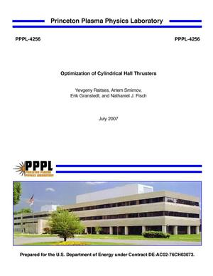 Primary view of object titled 'Optimization of Cylindrical Hall Thrusters'.