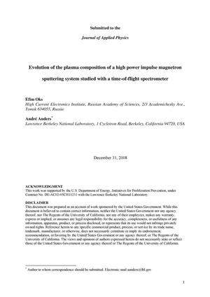Primary view of object titled 'Evolution of the plasma composition of a high power impulse magnetron sputtering system studied with a time-of-flight spectrometer'.