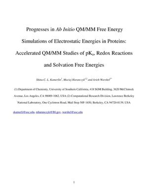 Primary view of object titled 'Progresses in Ab Initio QM/MM Free Energy Simulations of Electrostatic Energies in Proteins: Accelerated QM/MM Studies of pKa, Redox Reactions and Solvation Free Energies'.