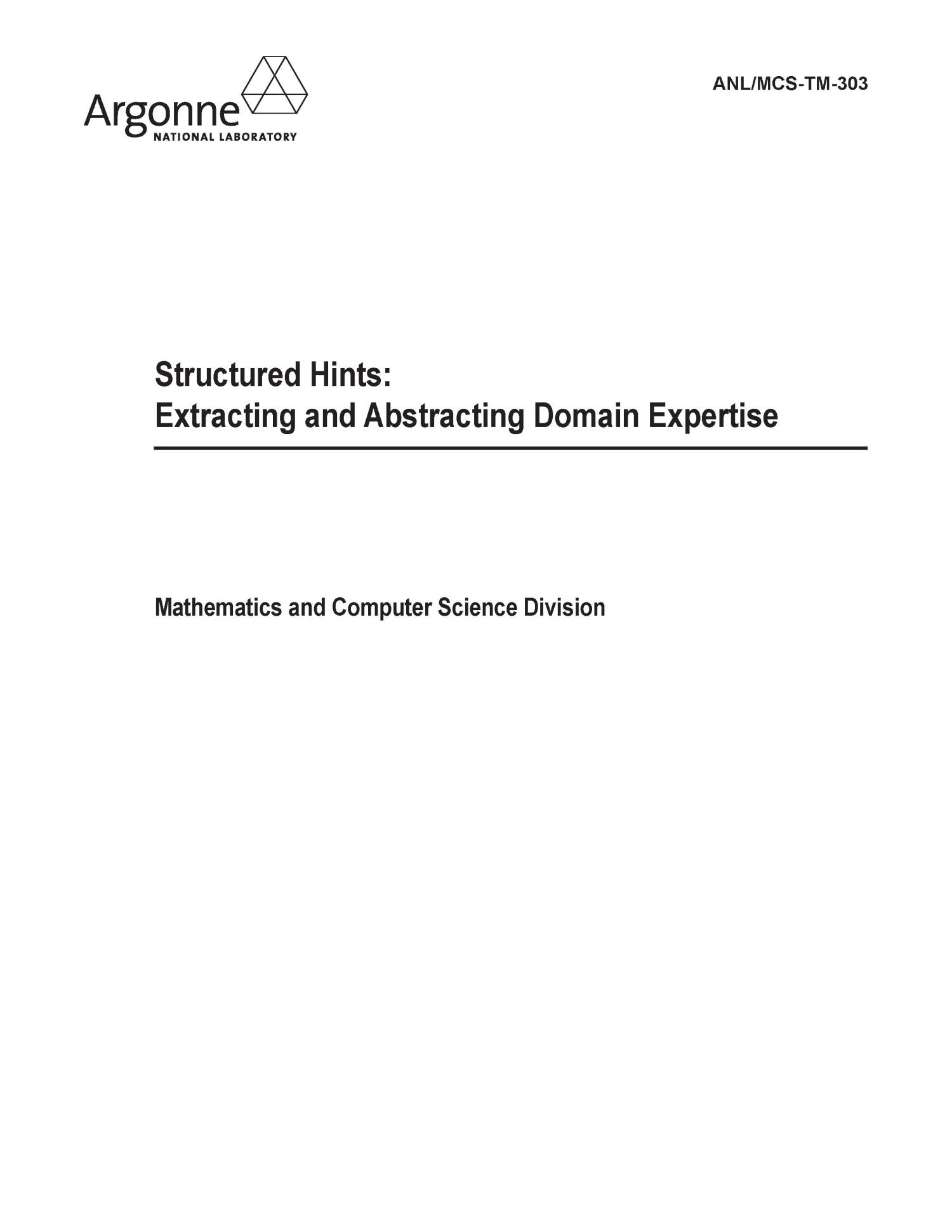 Structured hints : extracting and abstracting domain expertise.                                                                                                      [Sequence #]: 1 of 13