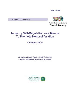 Primary view of object titled 'Industry Self-Regulation as a Means to Promote Nonproliferation'.