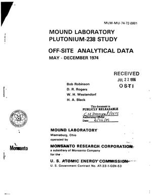 Primary view of object titled 'Mound Laboratory Plutonium-238 Study Off-Site Analytical Data May-December 1974'.
