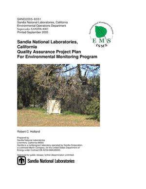 Primary view of object titled 'Sandia National Laboratories, California Quality Assurance Project Plan for Environmental Monitoring Program.'.