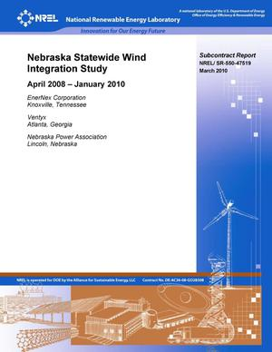 Primary view of object titled 'Nebraska Statewide Wind Integration Study: April 2008 - January 2010'.