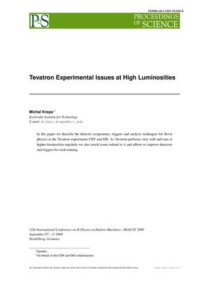 Primary view of object titled 'Tevatron Experimental Issues at High Luminosities'.