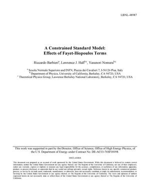 Primary view of object titled 'A Constrained Standard Model: Effects of Fayet-Iliopoulos Terms'.