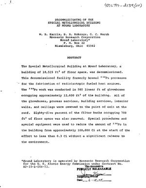 Primary view of object titled 'Decommissioning of the Special Metallurgical Building at Mound Laboratory'.