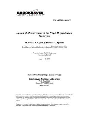 Primary view of object titled 'Design and Measurement of the NSLS II Quadrupole Prototypes'.