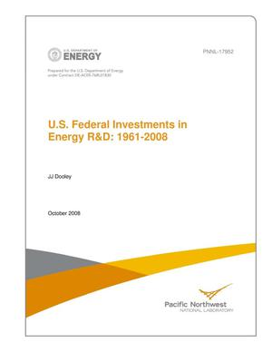 Primary view of object titled 'U.S. Federal Investments in Energy R&D: 1961-2008'.
