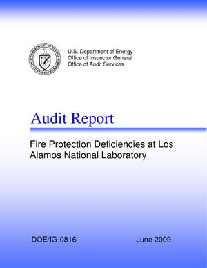 "Primary view of object titled 'Audit Report, ""Fire Protection Deficiencies at Los Alamos National Laboratory""'."