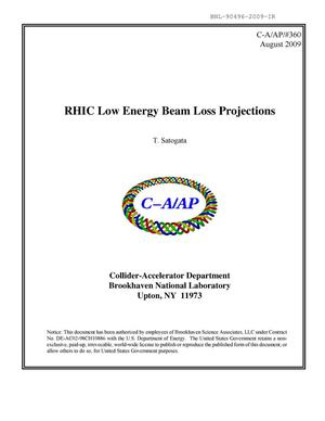 Primary view of object titled 'RHIC low energy beam loss projections'.