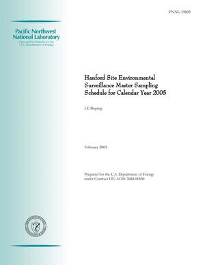 Primary view of object titled 'Hanford Site Environmental Surveillance Master Sampling Schedule for Calendar Year 2005'.