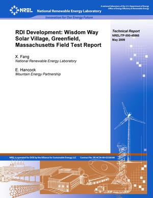 Primary view of object titled 'RDI Development: Wisdom Way Solar Village, Greenfield, Massachusetts Field Test Report'.