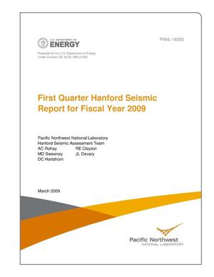 Primary view of object titled 'First Quarter Hanford Seismic Report for Fiscal Year 2009'.