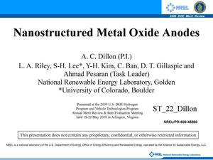 Primary view of object titled 'Nanostructured Metal Oxide Anodes'.