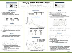 Primary view of object titled 'Classifying the End of Term Web Archive [Poster]'.