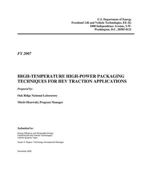 Primary view of object titled 'High-Temperature High-Power Packaging Techniques for HEV Traction Applications'.