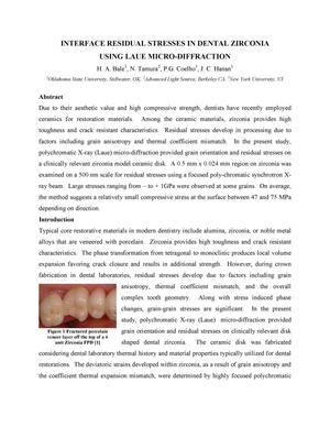 Primary view of object titled 'INTERFACE RESIDUAL STRESSES IN DENTAL ZIRCONIA USING LAUE MICRO-DIFFRACTION'.