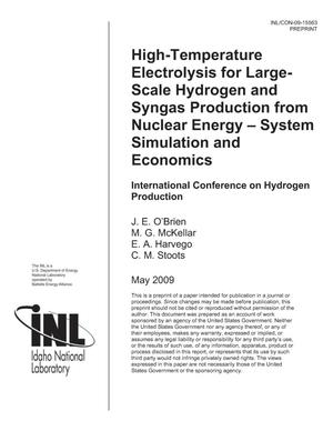 Primary view of object titled 'HIGH-TEMPERATURE ELECTROLYSIS FOR LARGE-SCALE HYDROGEN AND SYNGAS PRODUCTION FROM NUCLEAR ENERGY – SYSTEM SIMULATION AND ECONOMICS'.