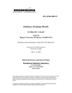 Primary view of object titled 'Emittance Exchange Results'.