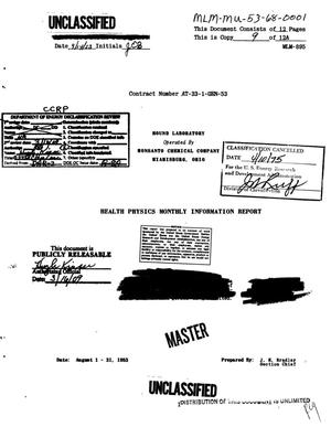 Primary view of object titled 'Health Physics Monthly Information Report. August 1-31, 1953.'.